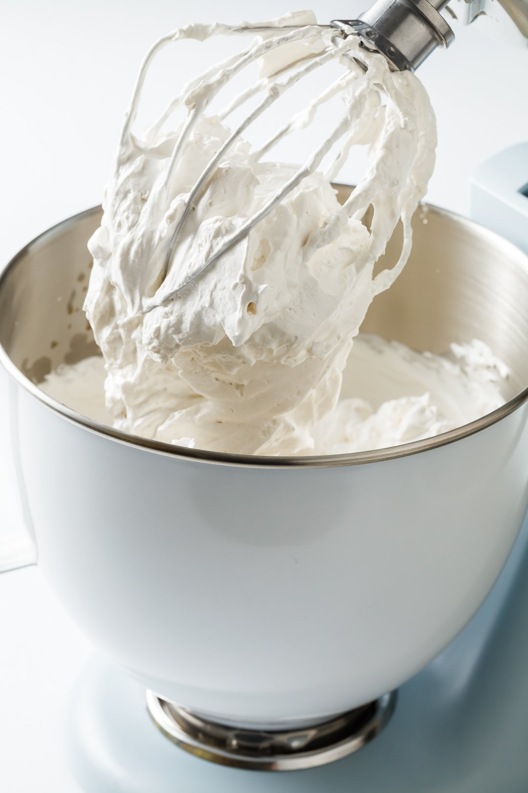 stiff egg white peaks in a stand mixer