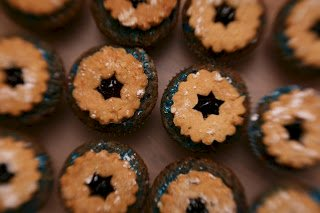 Linzer Cupcakes: Blue is for Chanukah