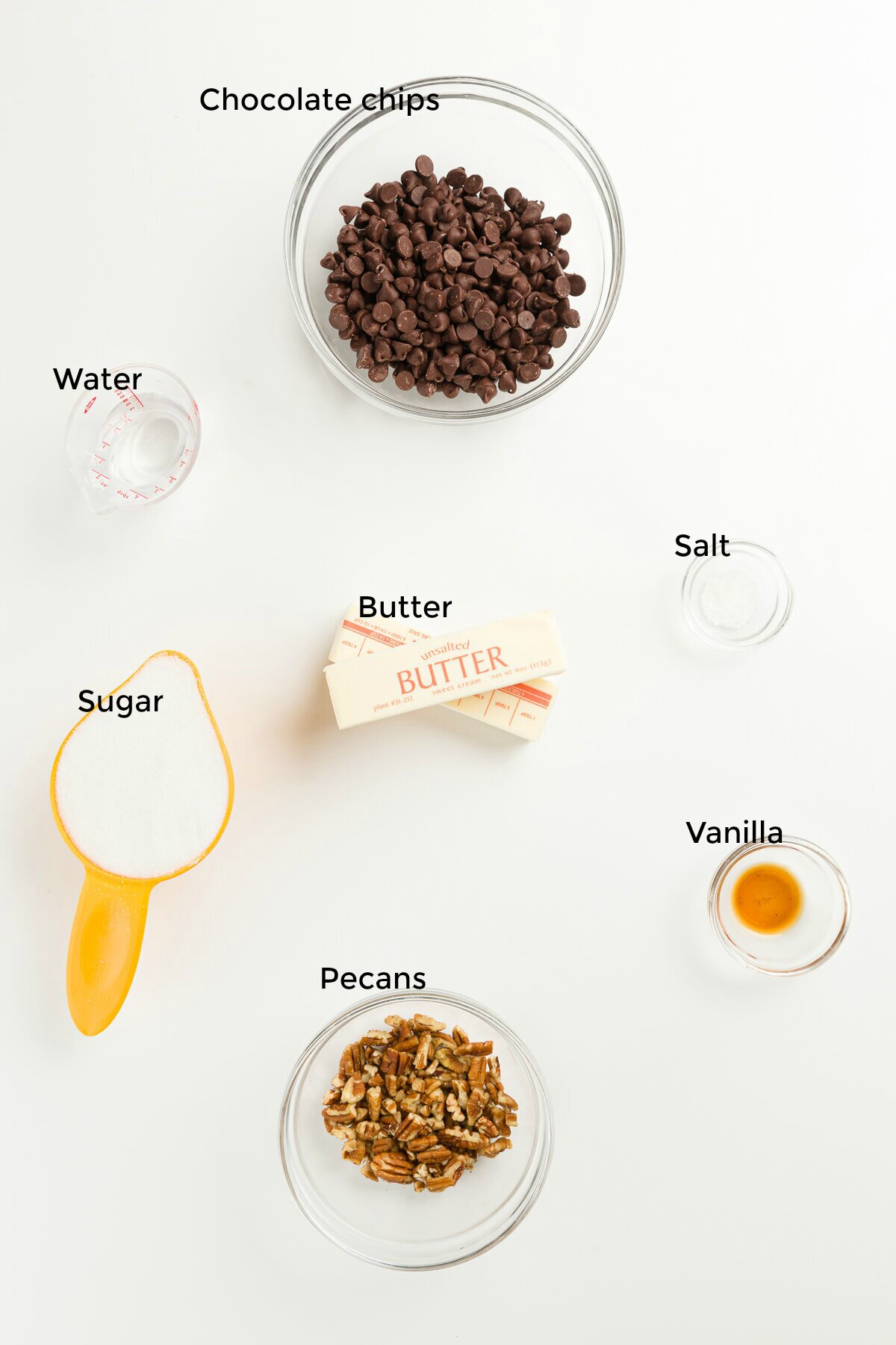 overhead shot with each toffee ingredient labeled