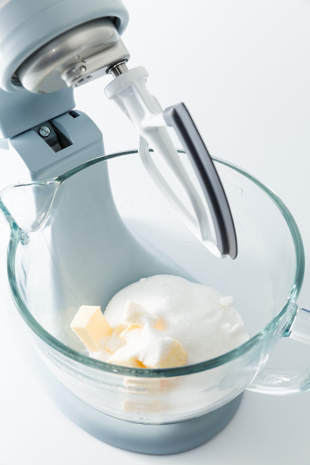 Butter and sugar in a KitchenAid mixer