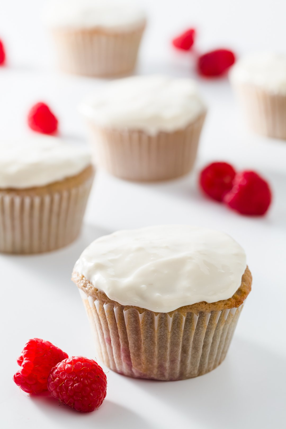 Cupcakes frosted with Greek yogurt frosting