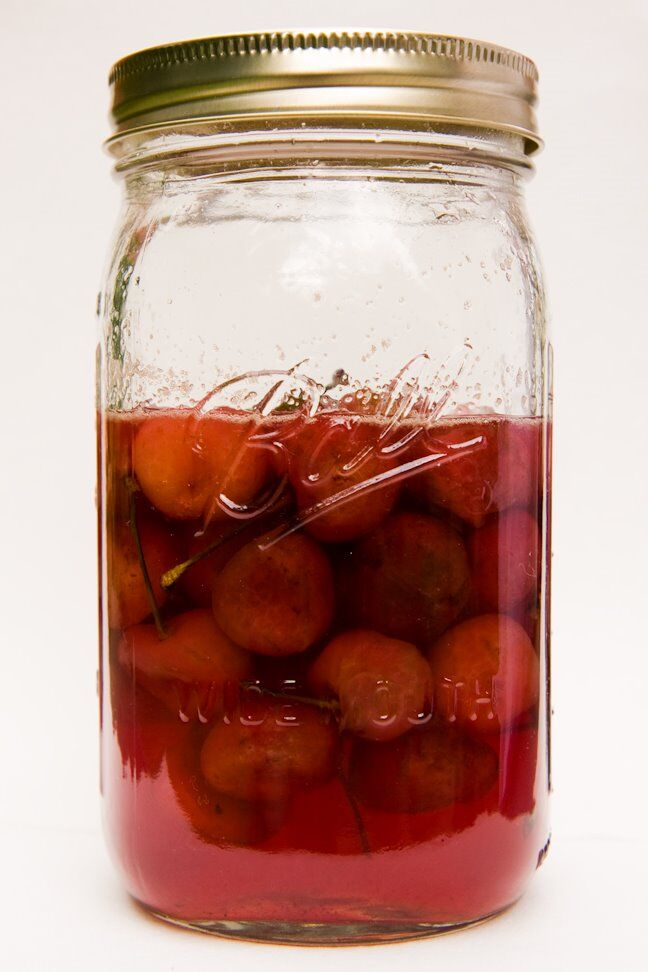 Jar of homemade Luxardo cherries