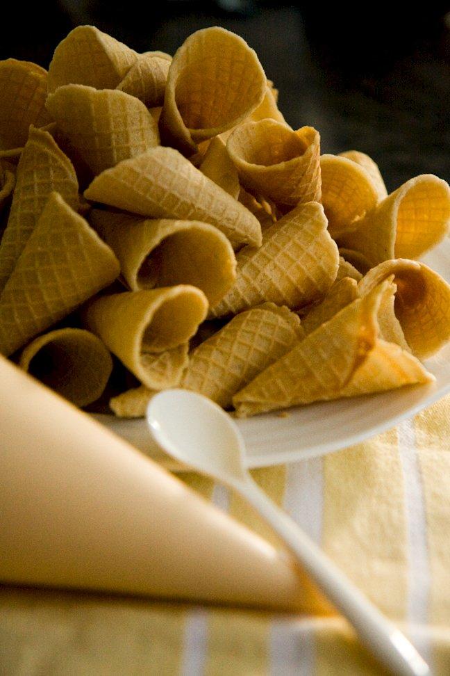 pile of mini waffle cones
