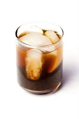 Glass of homemade Kahlua with ice cubes