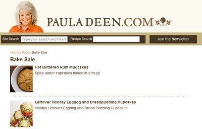New Cupcake Project Cupcakes on Paula Deen – Hot Buttered Rum Mugcakes and Eggnog Bread Pudding Cupcakes