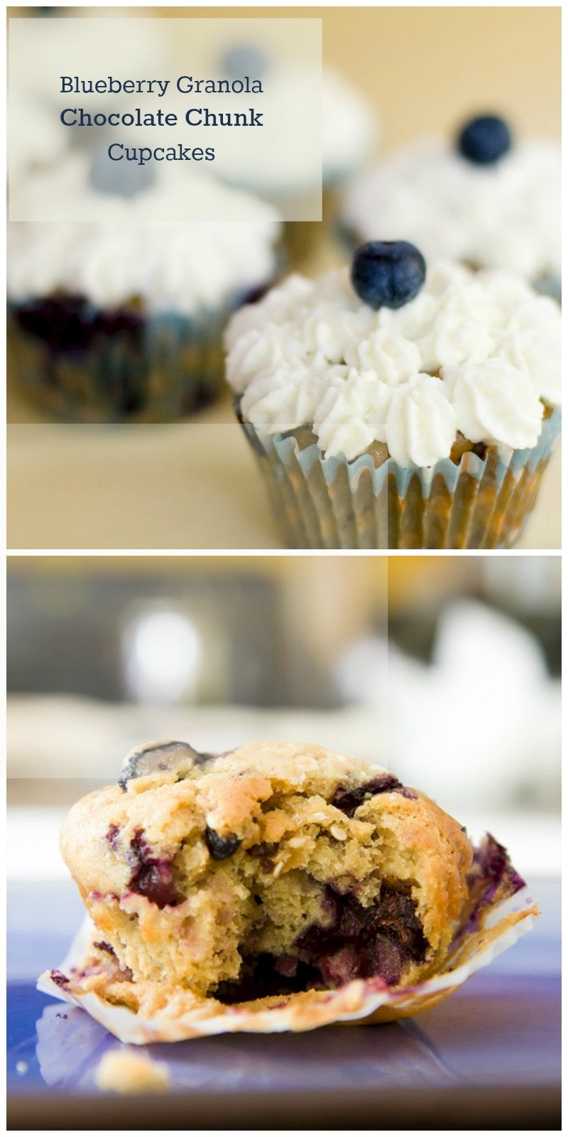 blueberry cupcake collage