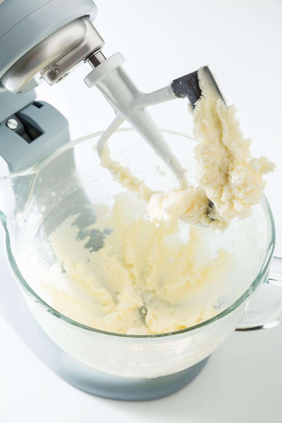 Butter and sugar creamed in a stand mixer bowl