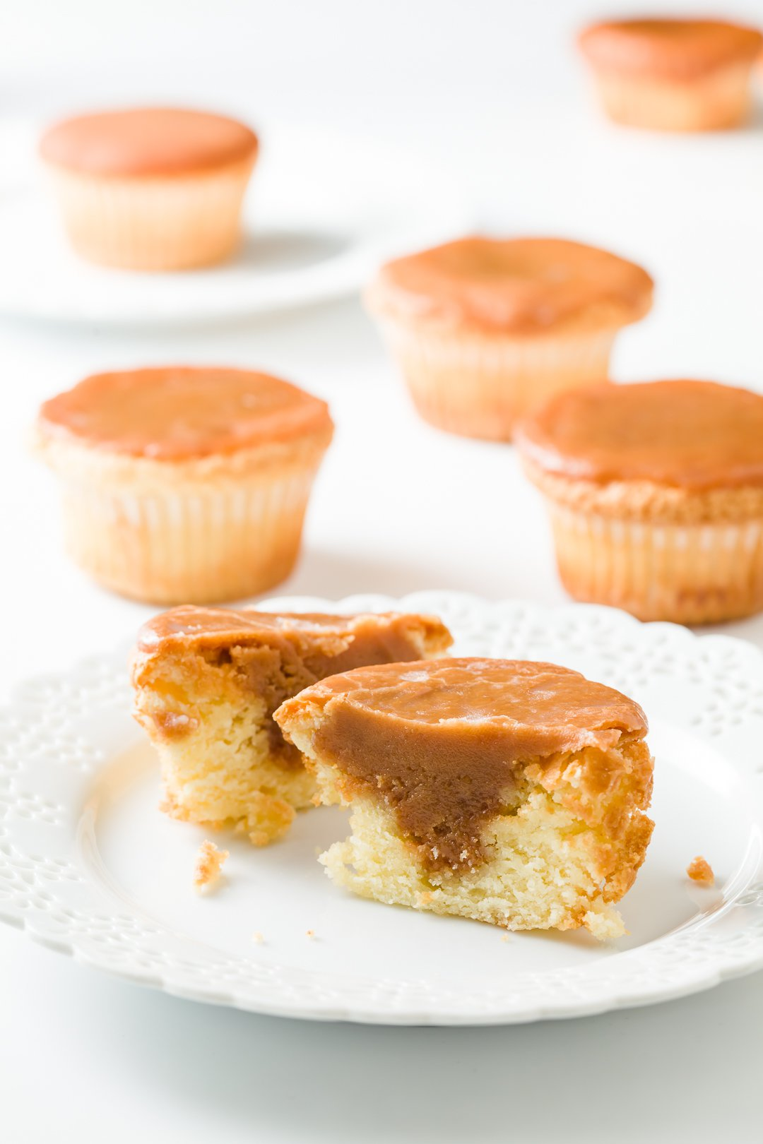 Cupcakes with caramel inside and on top