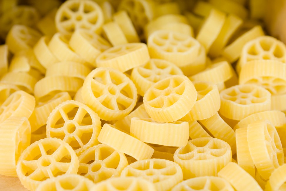 Raw wagon wheel pasta