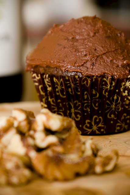 Red wine ganache on a cupcake