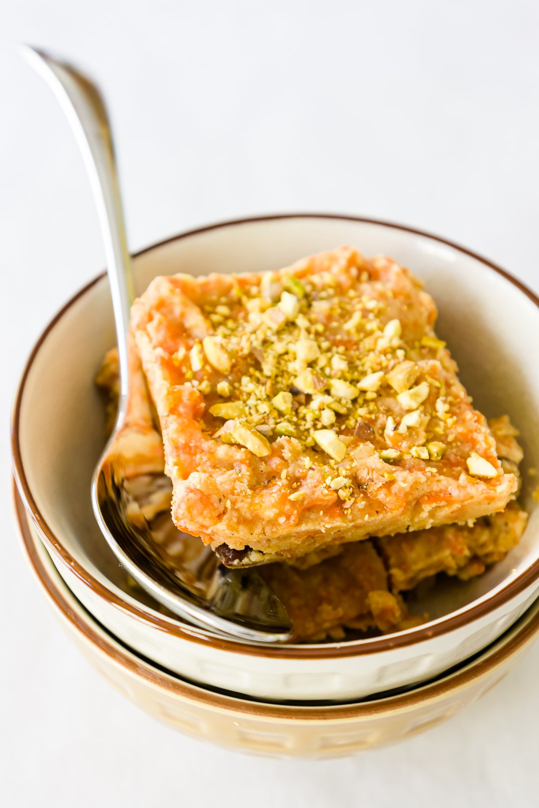 A piece of chilled carrot halwa in a bowl