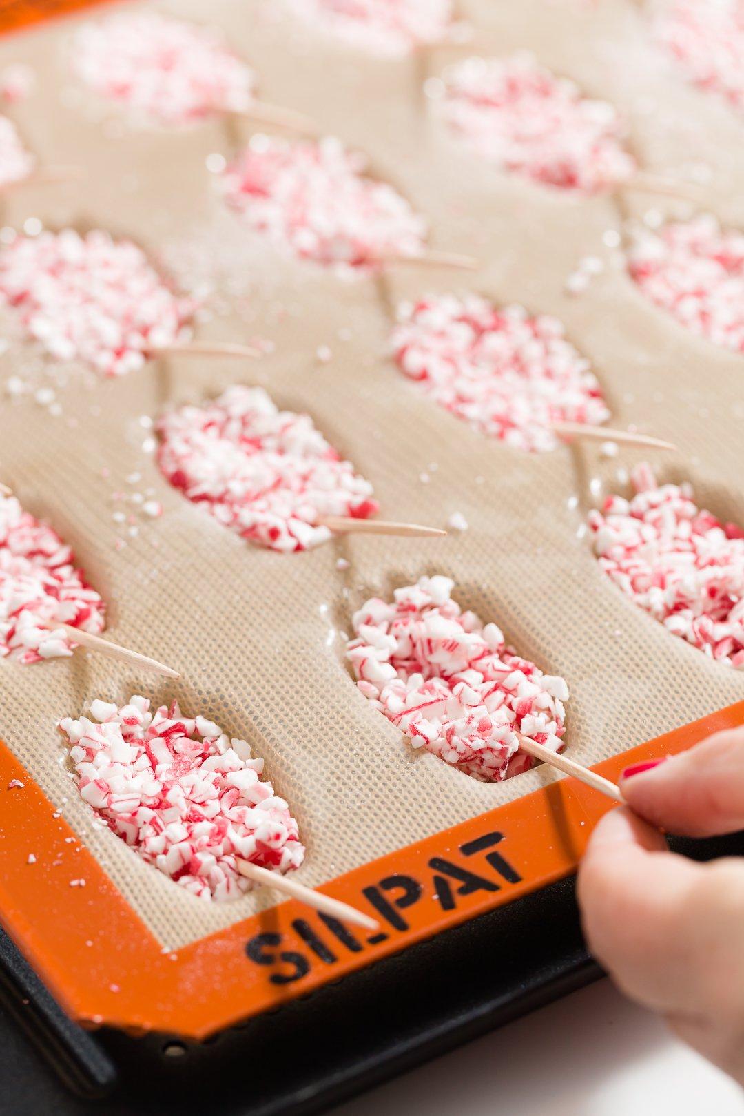 Agregar palillos de dientes a las magdalenas del bastón de caramelo