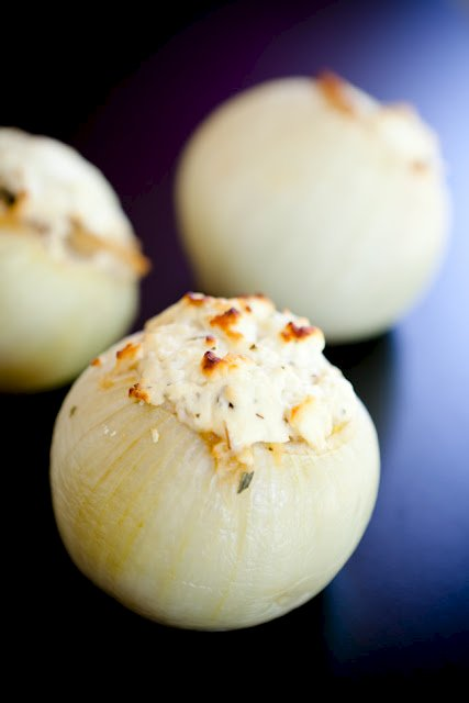 Roasted Onions Filled with Savory Bread Pudding