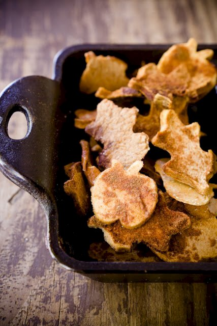apple chips cut into fall shapes