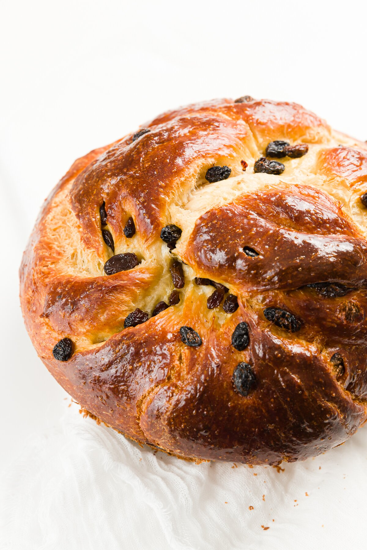 Round challah loaf with raisins on a white countertop