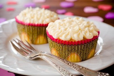 Passion Fruit Cupcakes for Valentine's Day with White Chocolate Frosting