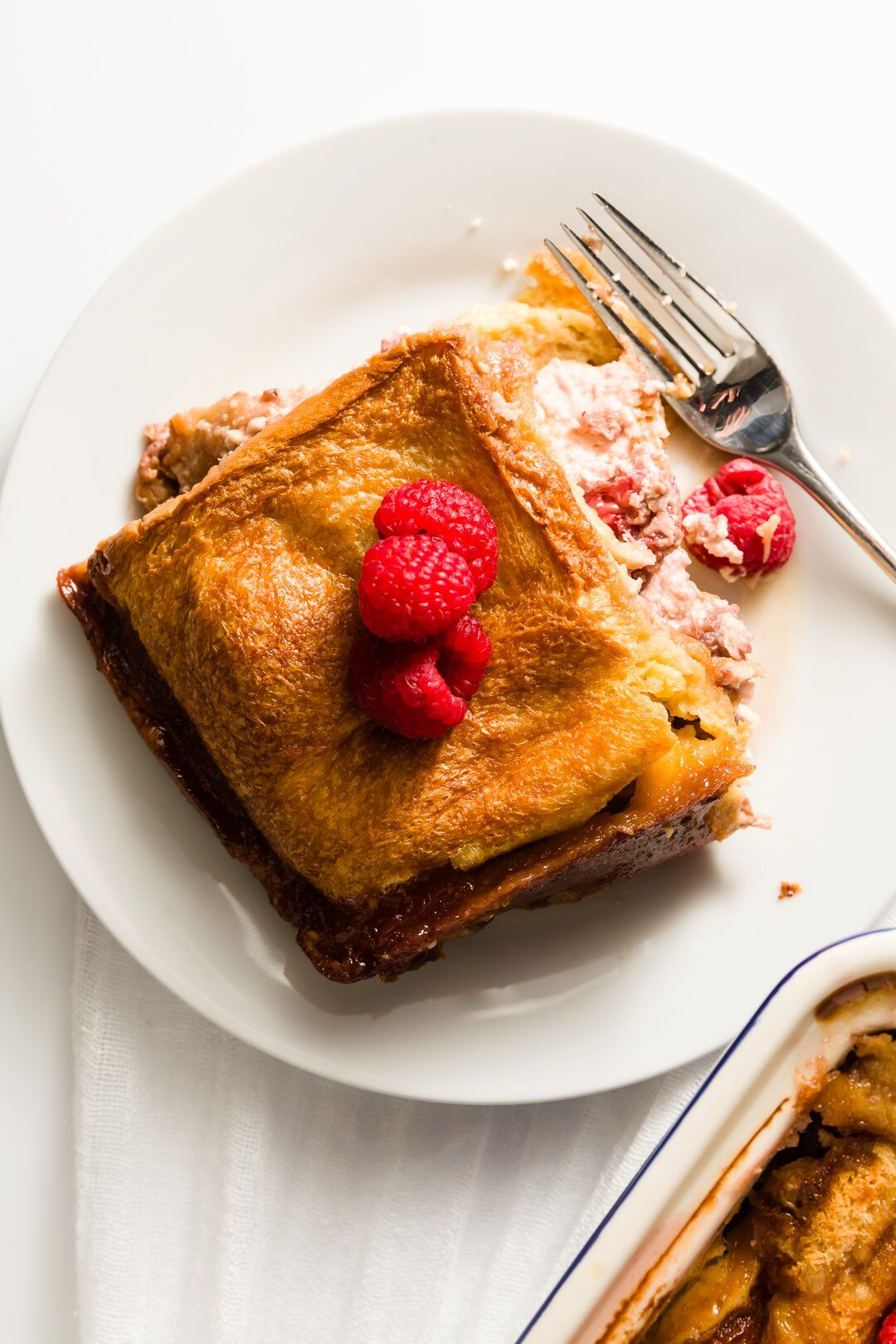 Slice of raspberry stuffed French toast