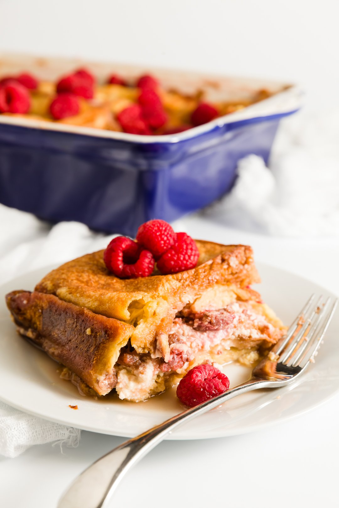 Overnight Raspberry Stuffed French Toast Casserole