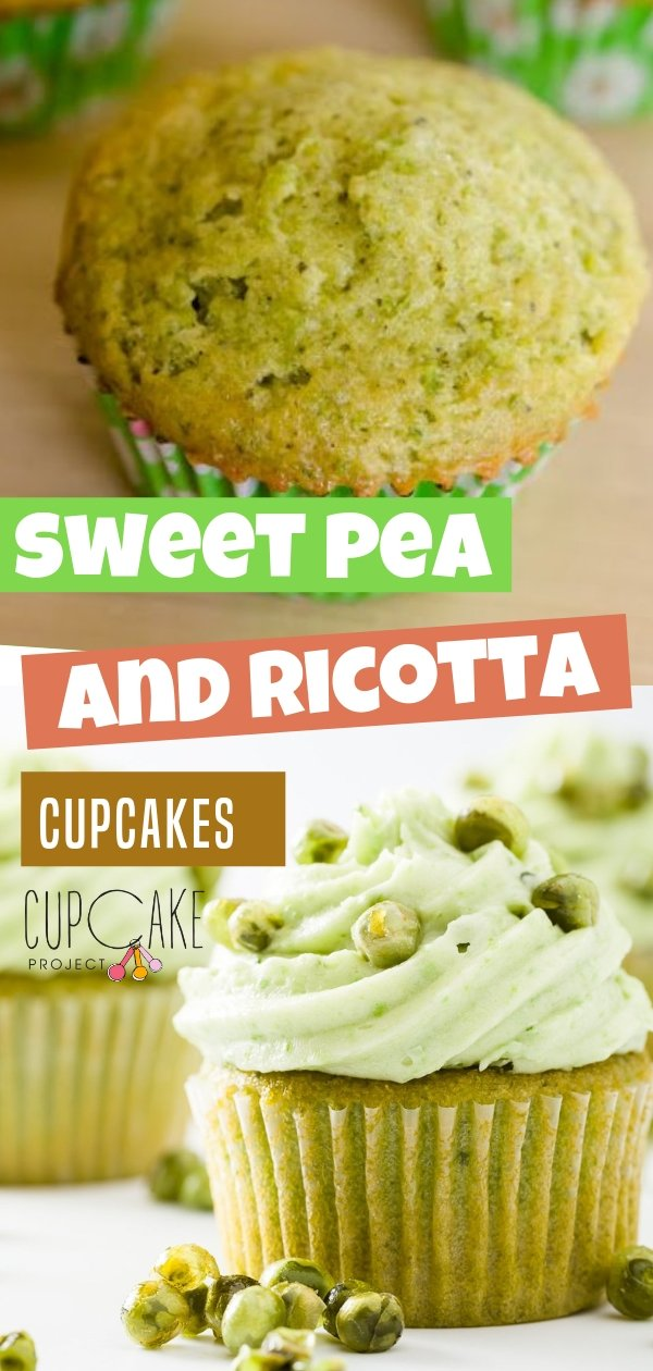 Sweet pea and ricotta cupcakes are light and sweet! They are topped with a sweet pea cream cheese frosting and candied peas. You'll be surprised at how much you'll end up liking this pea flavored dessert!