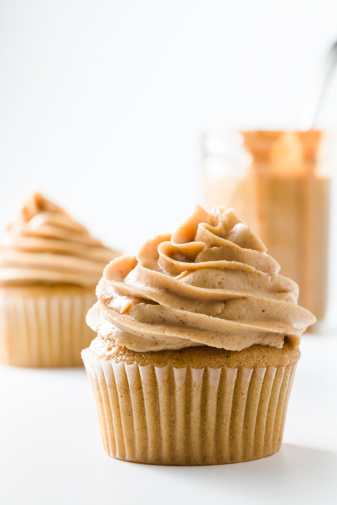 Peanut butter frosting on peanut butter cupcakes
