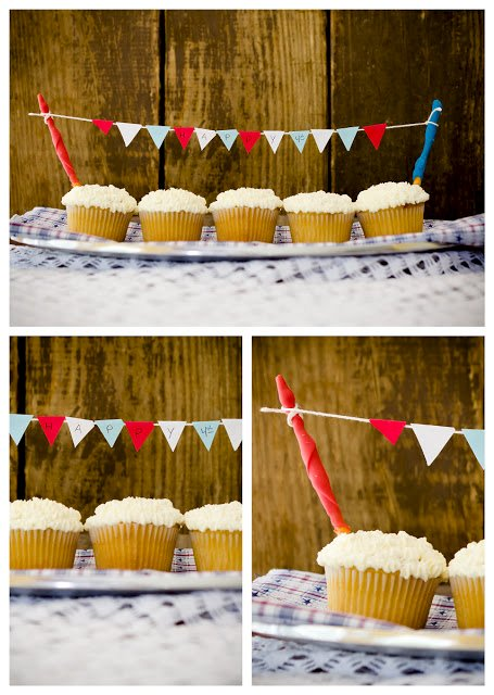 Decorating Cupcakes with Pennants (Cake Bunting)