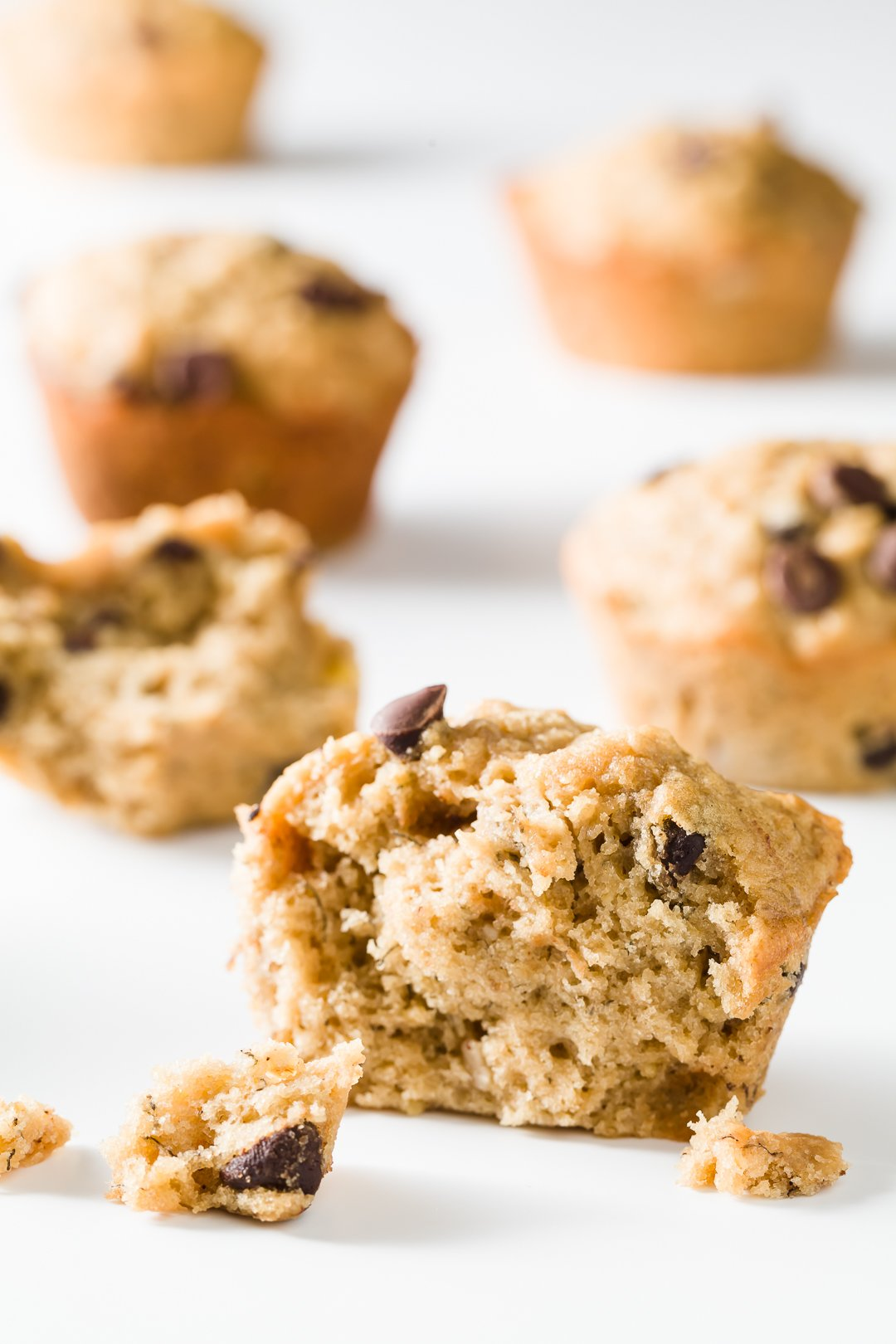 Banana oatmeal chocolate chip muffin broken open
