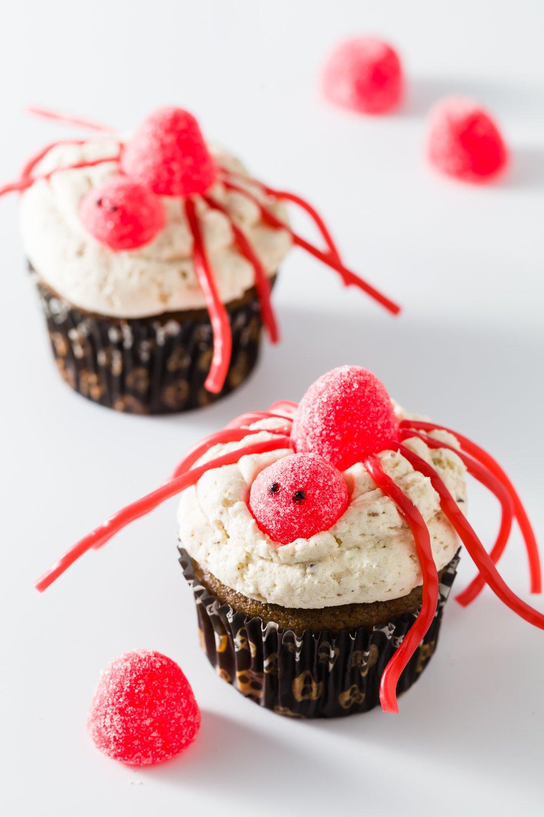 Cupcakes de araña de Halloween