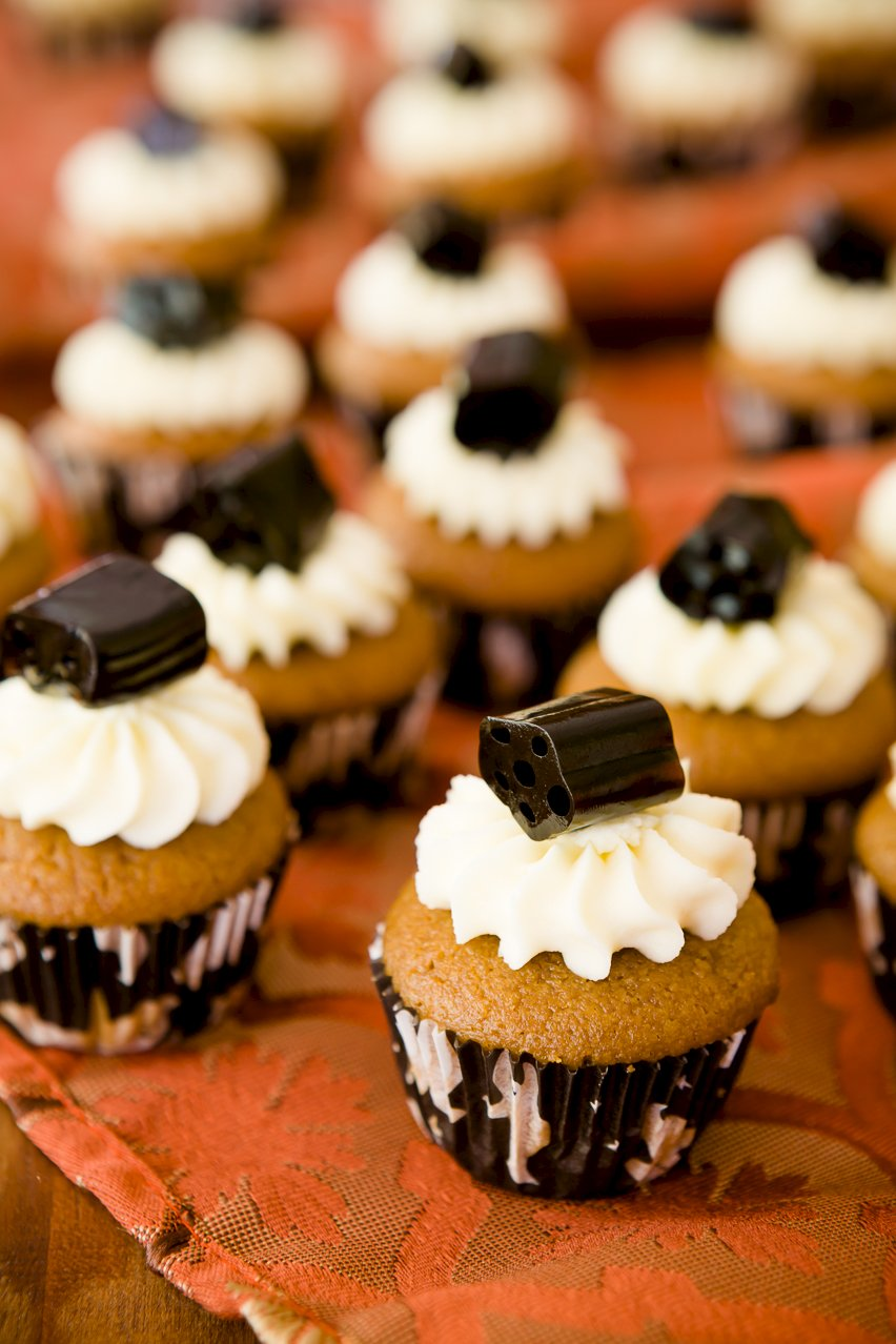 Mini Black Licorice Cupcakes for Halloween