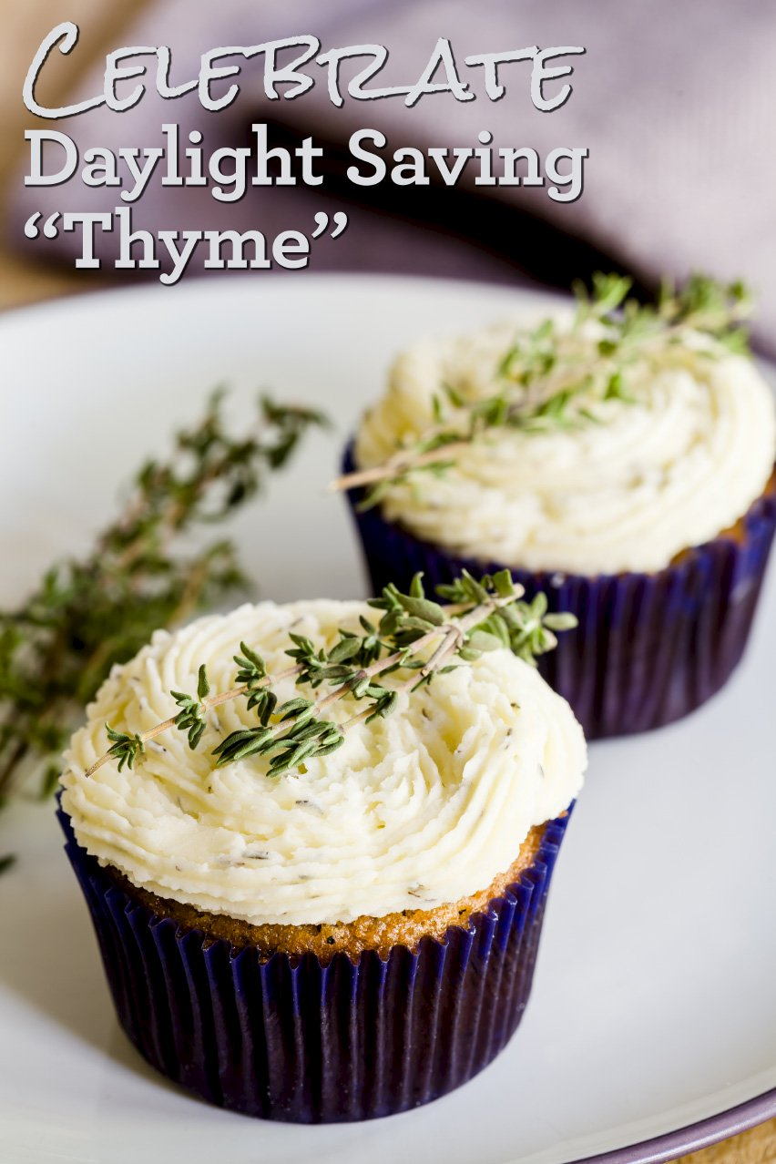 Two cupcakes made with thyme and turnips sitting on a plate