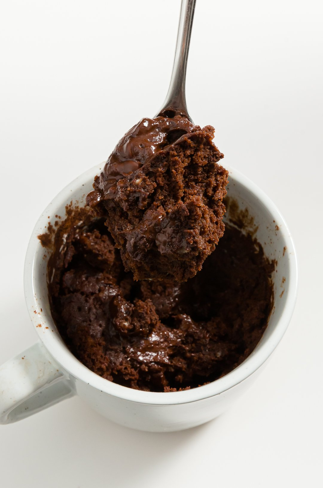 Mug cake with a spoon