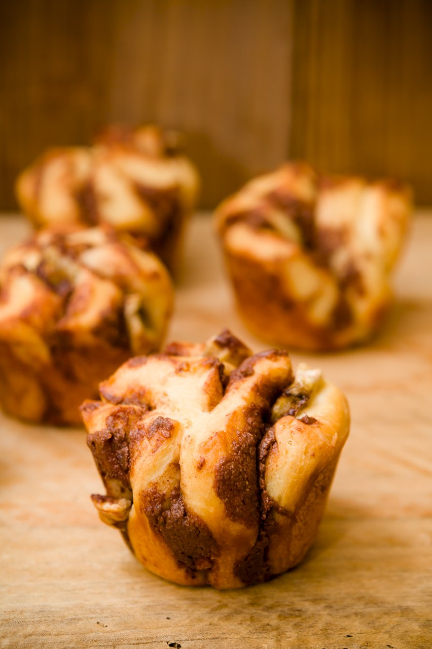 A group of 3 monkey bread muffins