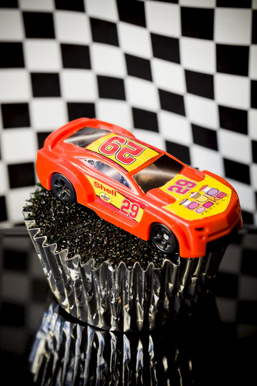 NASCAR Cupcakes – Salt and Vinegar Pork Rind Cupcakes with a Beer Glaze