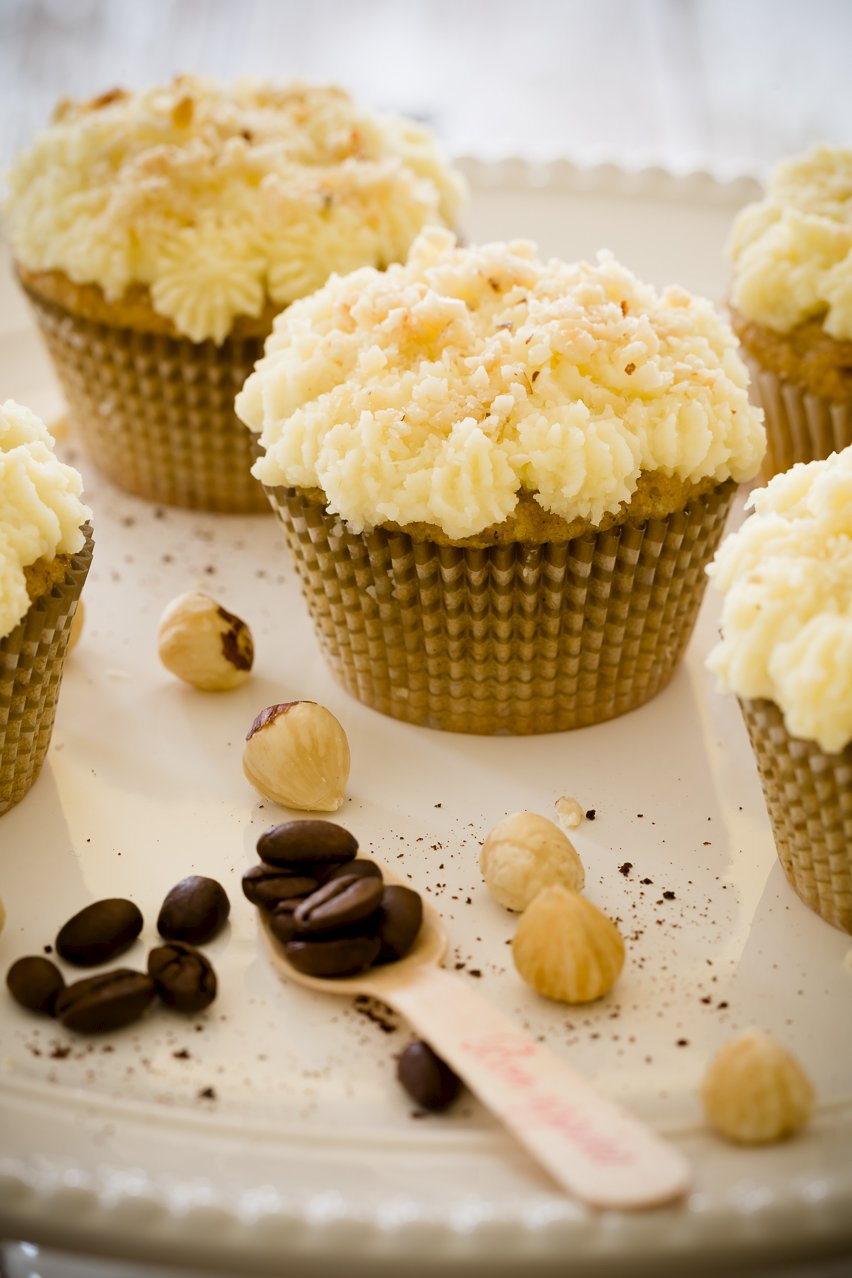 Cupcakes with Coffee beans as an example of a coffee desserts
