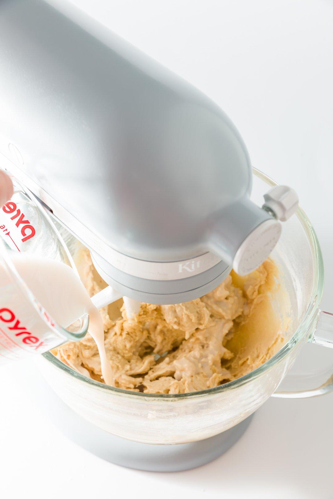 Adding milk to batter