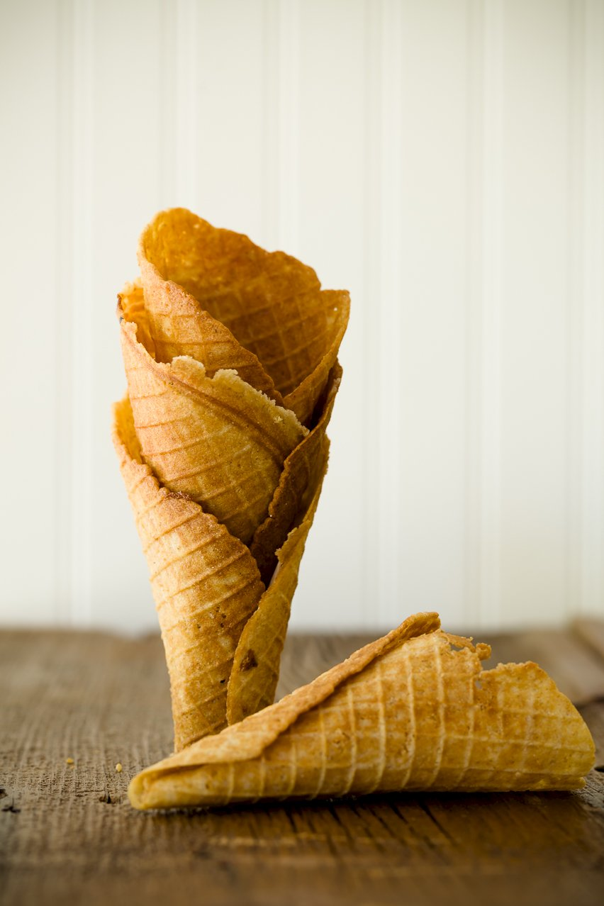 Stack of Homemade Waffle Cones