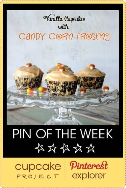 Vanilla Cupcakes with Candy Corn Frosting from Dixie Chik Cooks – Pin of the Week