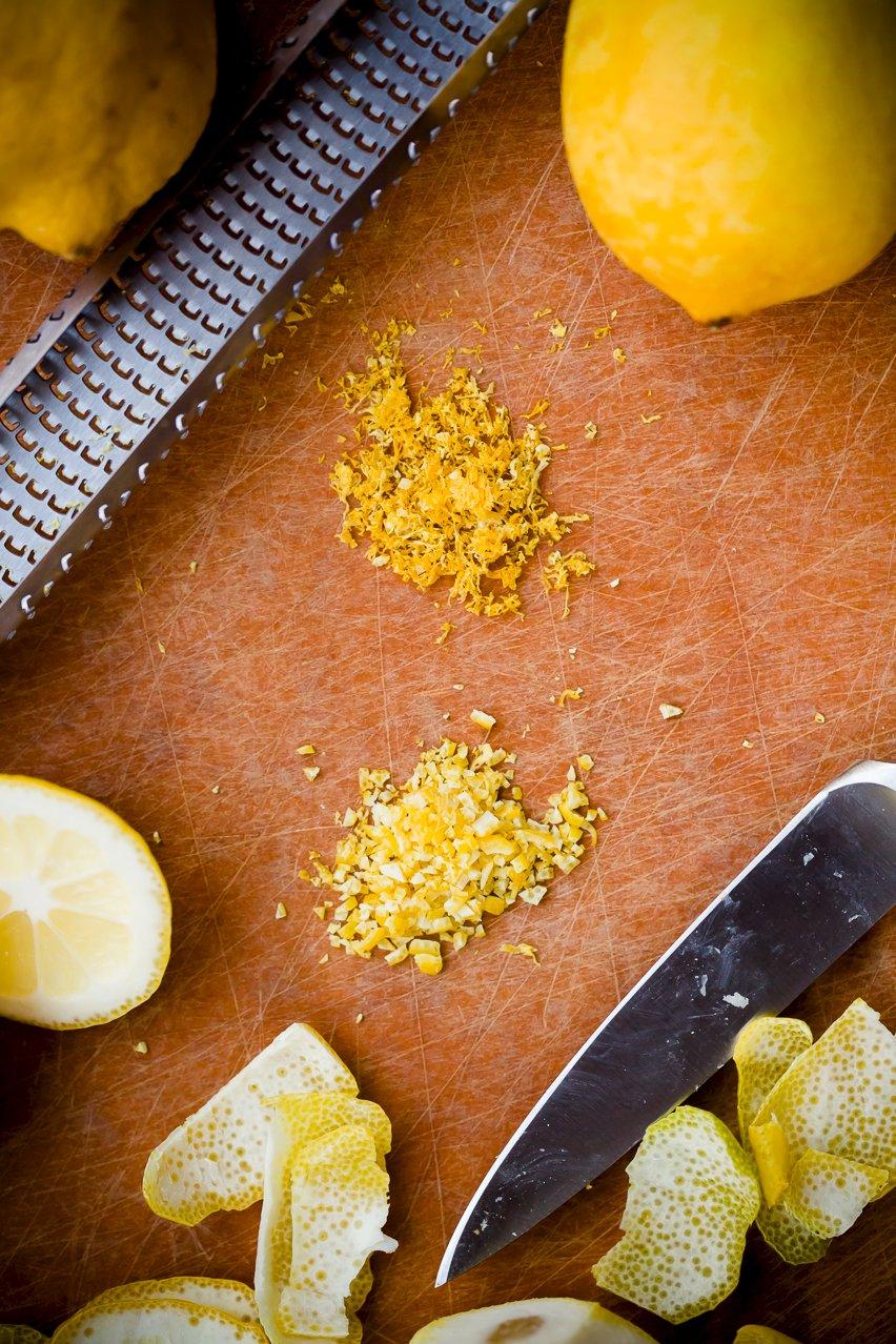 Zesting lemon with a microplane vs a knife