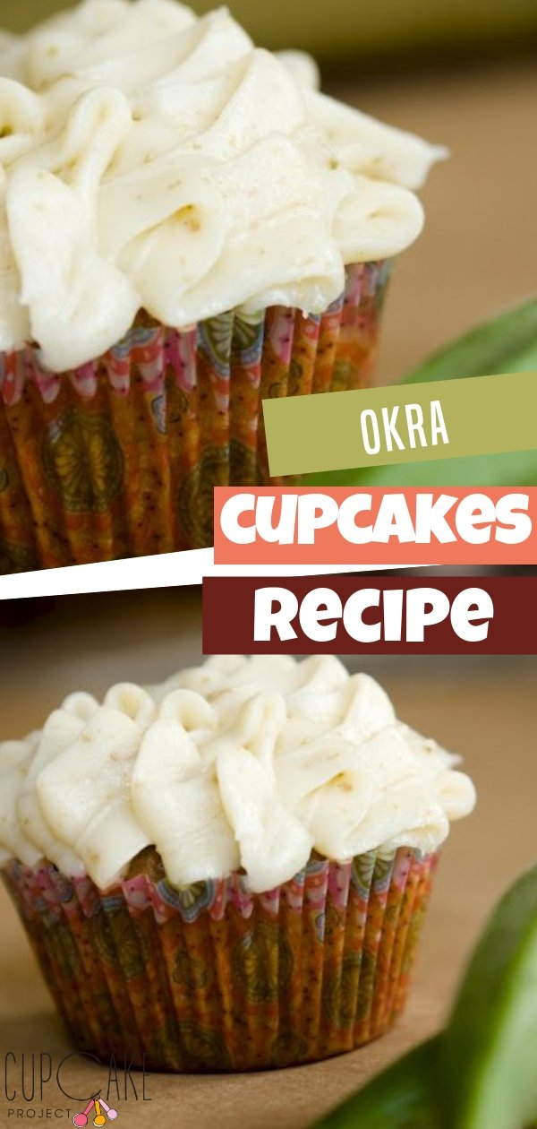 These okra cupcakes walk the thin line between cupcake and muffin.The touch of fennel in the cake plus the fennel frosting make for a unique flavor perfect for a Spring or summer garden party!