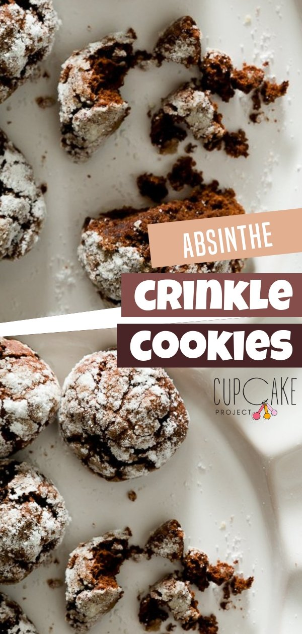 This easy Chocolate crinkle cookies are soft and fudge brownie-like on the inside with a crispy, sugar-coated exterior. The absinthe adds a bouquet of botanical flavors to the chocolate and a tinge of the unmistakable taste of alcohol.