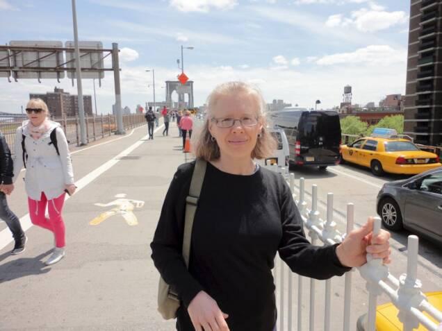 Kathy on Brooklyn Bridge