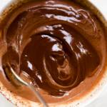 Overhead view of Stef preparing a bowl of chocolate ganache
