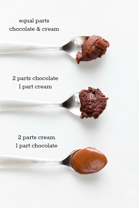 Cooled ganache on spoons, made three different ways - 1:1, 2:1, and 1:2 ratios of chocolate to cream