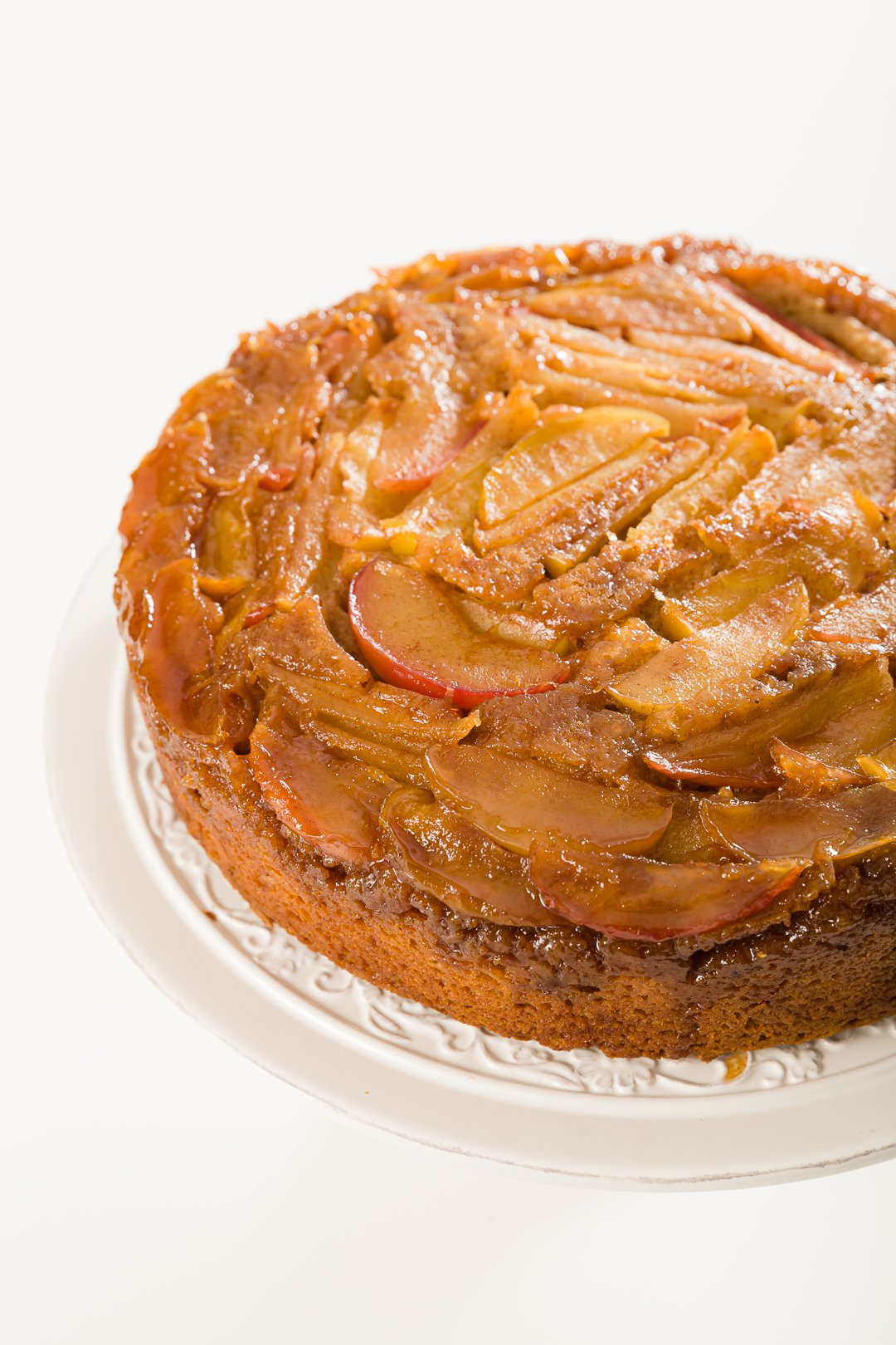 Apple upside-down cake unsliced