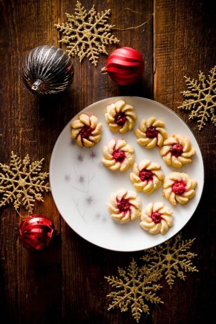 Cherry Vanilla Cream Cheese Spritz Cookies