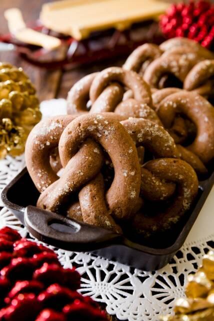 Chocolate Gingerbread Pretzel Cookies