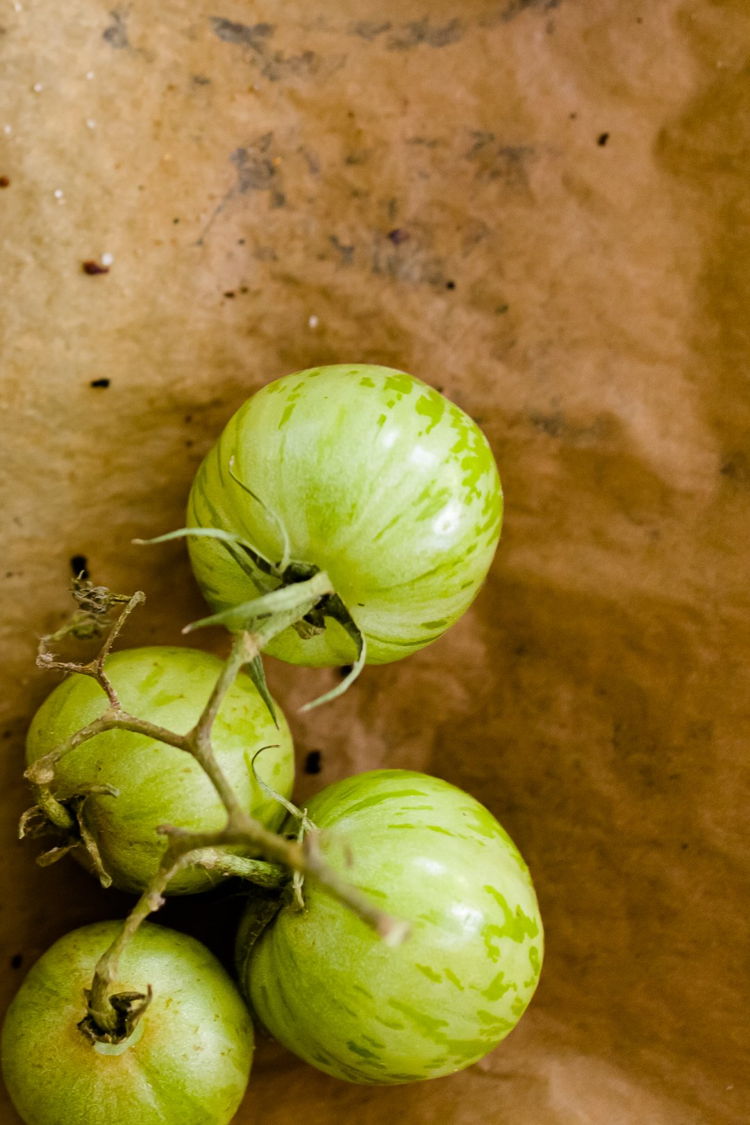 Unripe green tomatoes on a vine resting on brown butcher paper
