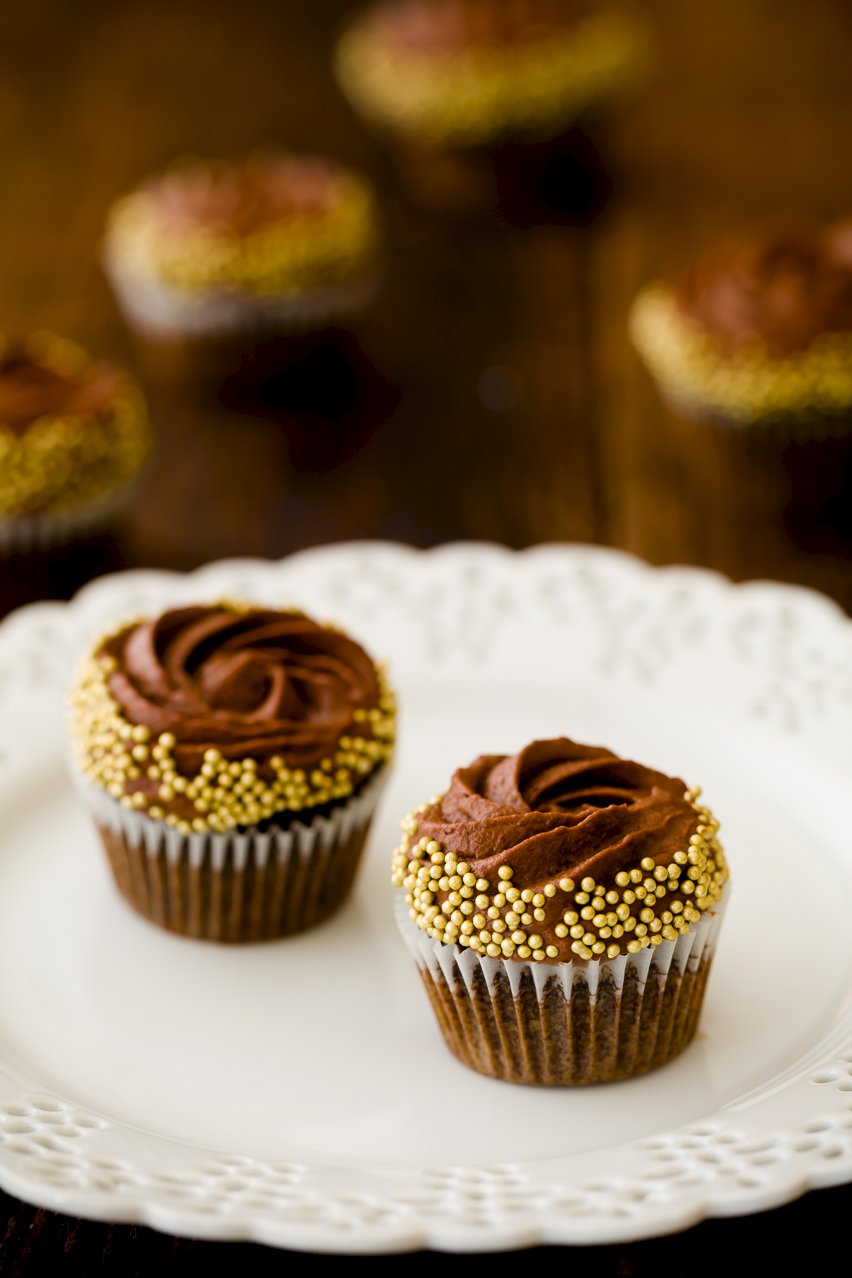 Rum Cupcakes with chocolate mousse frosting