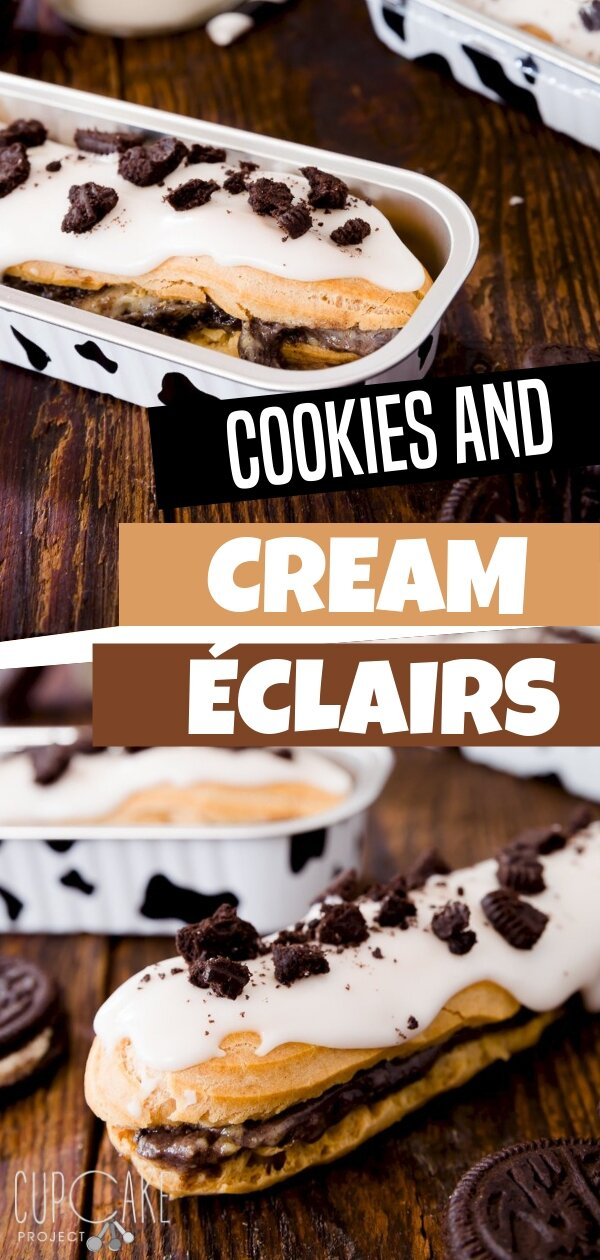 Cookies and Cream éclair is an easy to make recipe that is drizzled with powdered sugar glaze and sprinkled with Oreo pieces! This is the perfect dessert for any parties you\'re attending. Bring the perfect taste to your guests! Save this pin for later!