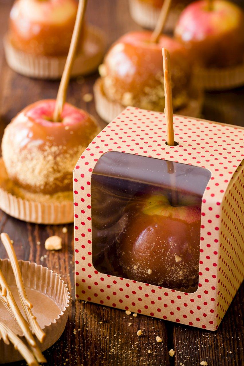Caramel Apples packaged in gift boxes