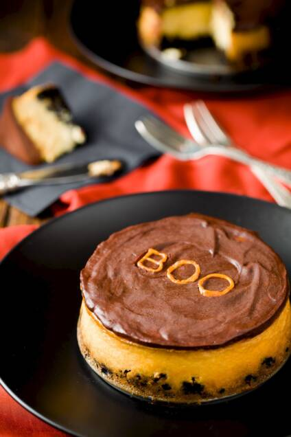 Spooktacular Chocolate Glazed Orange Cheesecake
